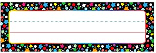 Desk Name Plate Confetti-Themed for School Classroom 50 Pcs, Back-to-School Decoration, Teacher/Student Use for Classroom/...