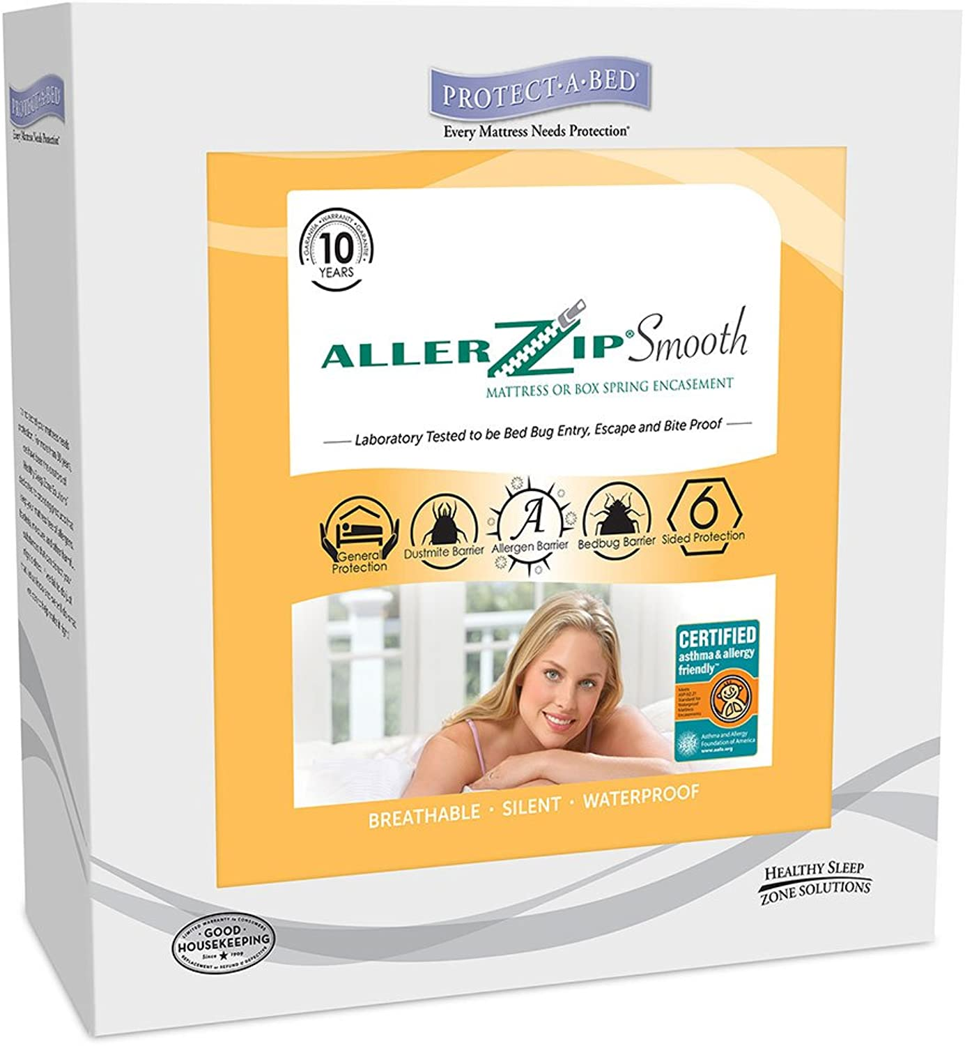 AllerZip Smooth Waterproof Bed Bug Proof Zippered Bedding Encasement, Full, (Fits 7 - 12 in. H)