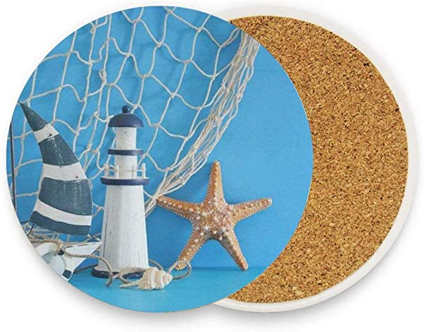 Nautical Theme Sailboat Lighthouse Starfish Seashells Fishnet Over Blue Wooden Table White Absorbent Coaster For Drinks Ceramic Thirsty Stone With Cork Back Fit Big Cup No Holder Parck 1