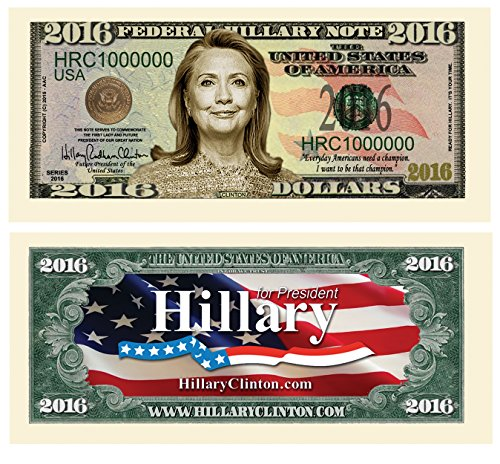American Art Classics Hillary Clinton 2016 Presidential Dollar Bill in Currency Holder