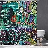 Hippie Graffiti Duschvorhang Buchstaben Graffiti Duschvorhang Abstract Art Badezimmer Wasserdichter Duschvorhang 12 Haken Duschraum Badewanne Dekor (150x180CM)