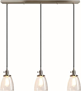 Pathson Industrial 3-Light Pendant Lighting Kitchen Island Hanging Lamps with Oval Clear Glass Shade Chandelier Ceiling Light Fixture (Brushed Steel)