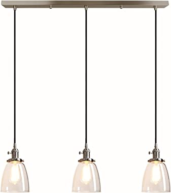 Pathson Industrial 3-Light Pendant Lighting Kitchen Island Hanging Lamps with Oval Clear Glass Shade Chandelier Ceiling Light