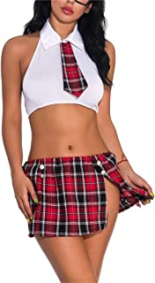 LeaLac Women Summer Schoolgirl's Outfit Costume Lingerie Set With Tie Top Shirt Mini Skirt