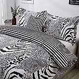 Leopard Print Duvet Cover Set Full White and Black Bedding Zebra Giraffe Leopard Tiger Stripes Print Bedding Safari Animal Print Bedding with 2 Pillow Shams