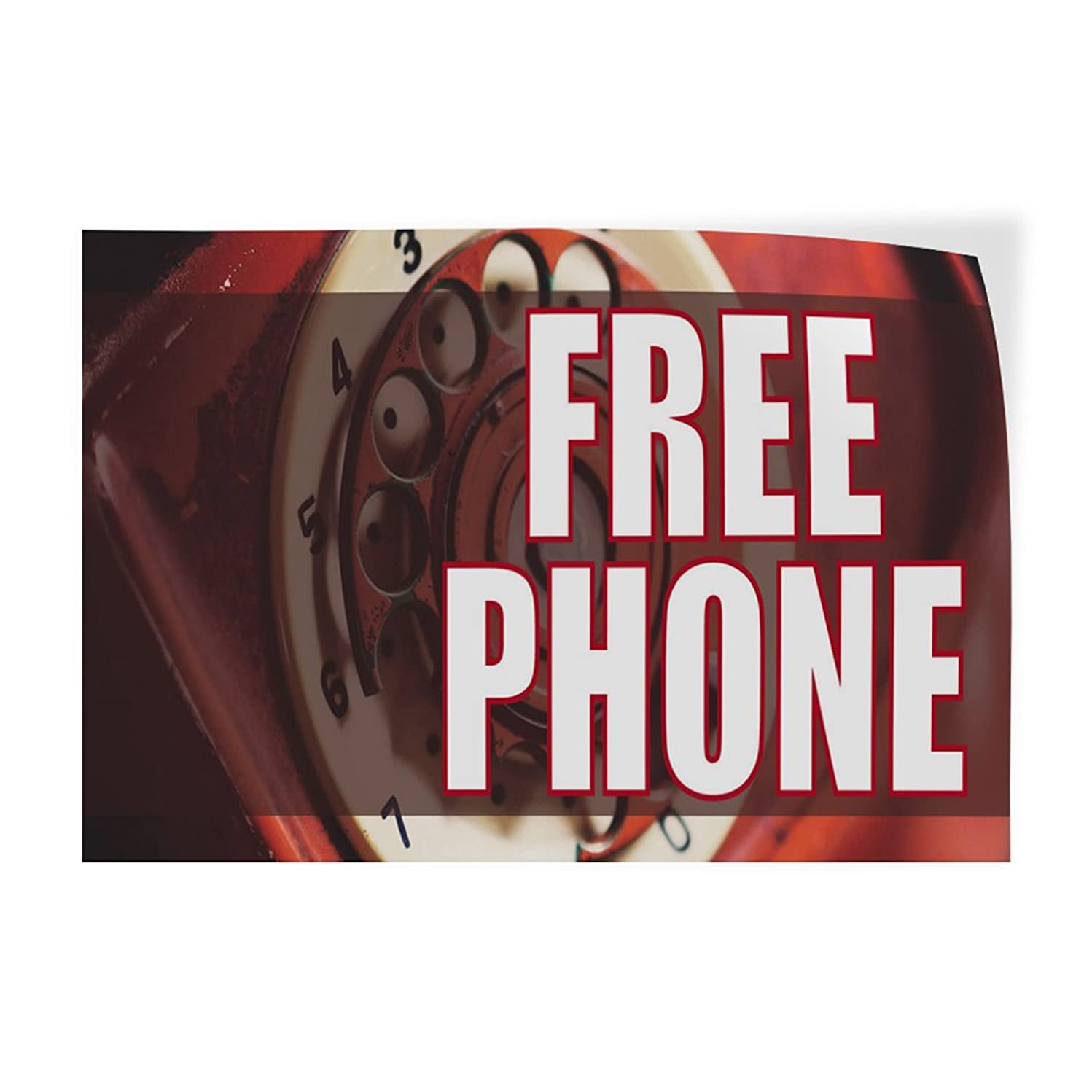 Decal Sticker Multiple Sizes Free Phone #8 Retail Free Phone Outdoor Store Sign White - 66inx44in, One Sticker