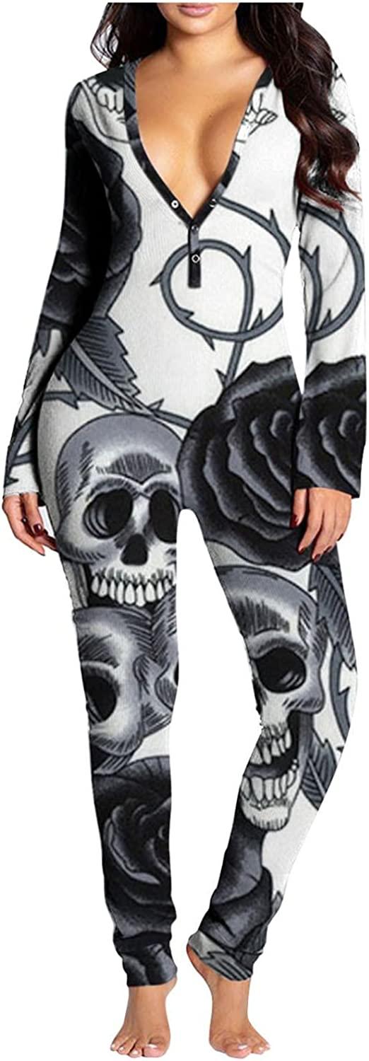 Gibobby Jumpsuit for Women Sleepwear Long Sleeve Halloween Sleepwear V Neck Button Down Pajamas Buttoned Flap Casual Rompers