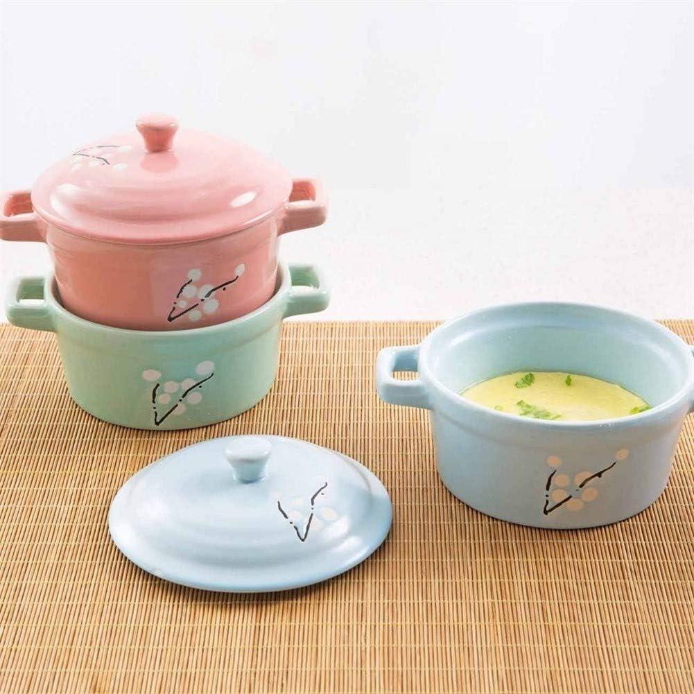 WeiCYN Mini Céramique Casserole marmite à Soupe avec poignée Vaisselle en céramique de Cuisson Pot à Lait d'oeuf Ragoût Pan Cuisine Pots Imprimé Cooker (Color : Green) Green