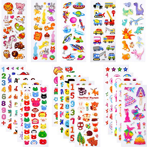 PuTwo Stickers 400+, 20 Different Sheets Puffy Stickers, Cute Stickers, Kids Stickers, Sticker Sheets, 3D Stickers, Stickers for Kids, Stickers for Toddlers, Sticker for Birthday Gift, Kid's Crafts