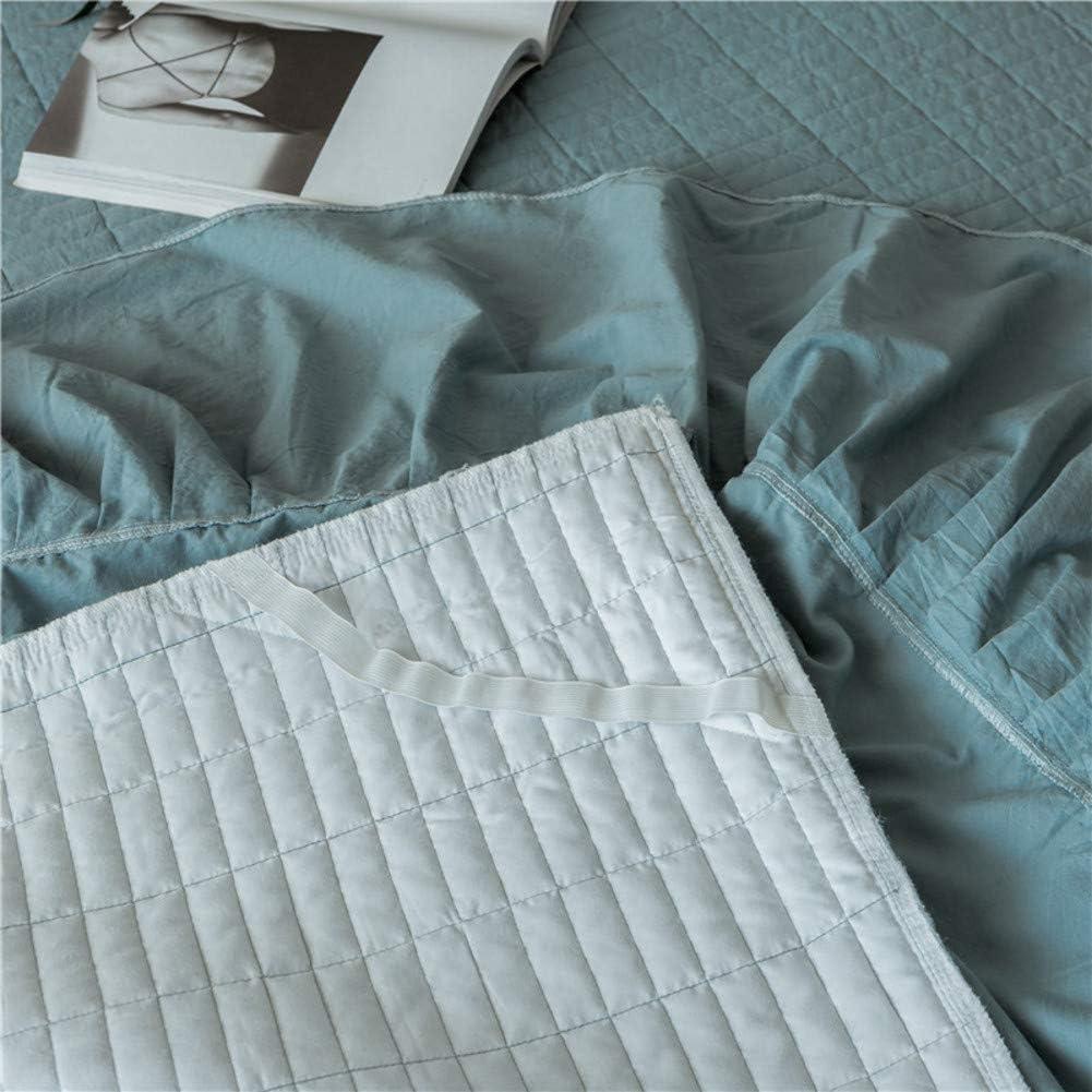 BKBS Bordado Falda de Cama Cenefa de la Cama Acolchado Cubierta de Cama Cord/ón Resistente a Las Arrugas Resistente al desvanecimiento Algod/ón-A 1 x Funda de almohada60x60cm