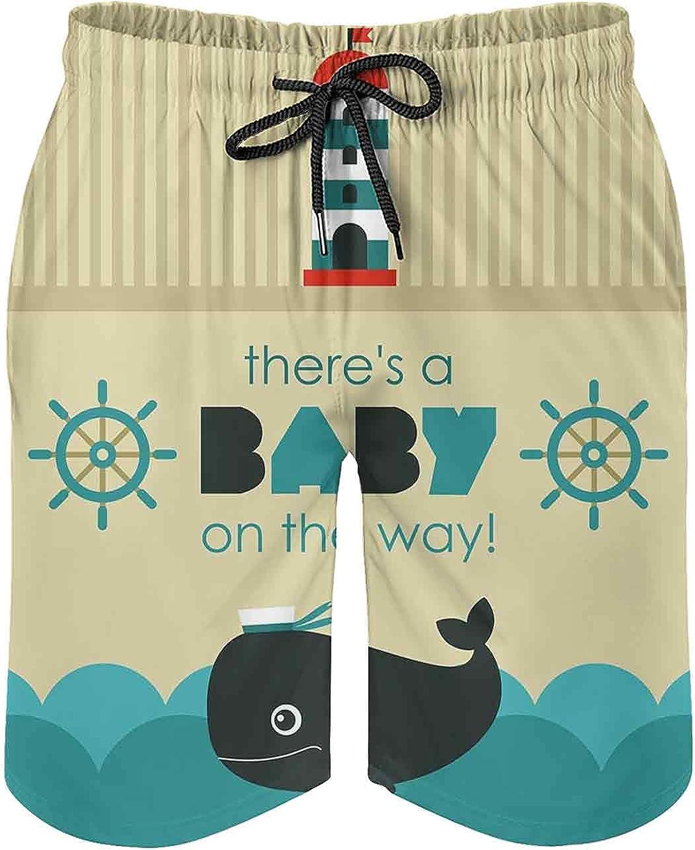 SUZM Breathable Mesh Lining Beach Shorts Ahoy Its a Boy Announcement Card Beach Short