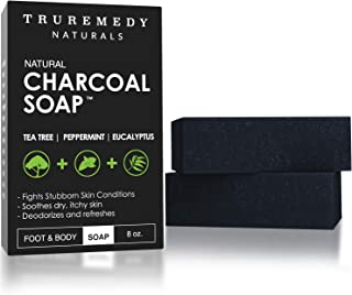 Natural Activated Charcoal Soap Bar (2-Pack) | Hand, Foot & Body Soap for Acne, Blackheads, Eczema, Athletes Foot | Tea Tr...