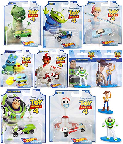 Exciting Toy Story Adventure Character Car Bo Peep Bundled with Forky + Space Alien Racer + Rex Dinosaur + Ducky & Bunny Wagon + Duke Caboom Stunt Van Buzz Lightyear car + Mini Figures Woody 9 Items