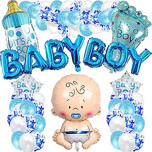 iWheat Babyparty Deko Junge, Blau Baby Shower Dekoration, Gender Reveal Party Deko, Babydusche Taufe Dekorations für Jungs mit Jungen Ballon/Baby Boy Banner/es ist EIN Junge Ballons