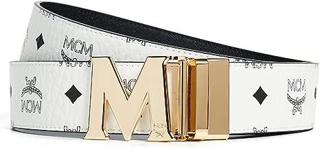 MCM Men's Visetos Printed Reversible Belt, White/Black, One Size