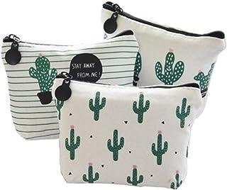 Ruikey 3Pcs Billetera Cactus Monederos De Tela Pequeños Monederos De Mujer Pequeños Monederos Niña Baratos para Moneda Efe...