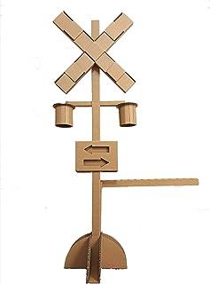 高さ約100センチ 作って遊べる 大きな踏切  子供 知育 玩具 おもちゃ ダンボール クラフト 工作 電車 鉄道 模型