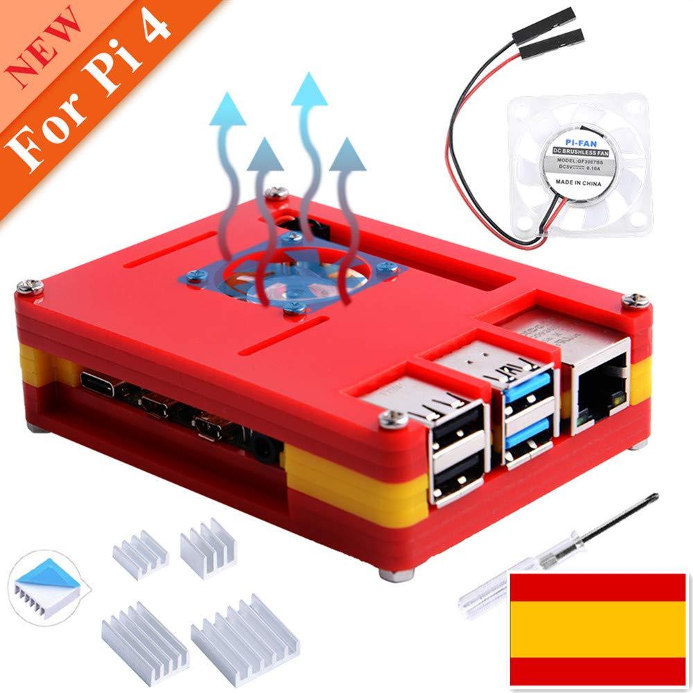 owootecc Caja para Raspberry Pi 4, Bandera España Style Raspberry ...