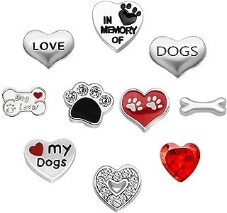 CharmSStory 10 Pcs Dog Floating Charms for Glass Living Memory Lockets Necklace Bracelet