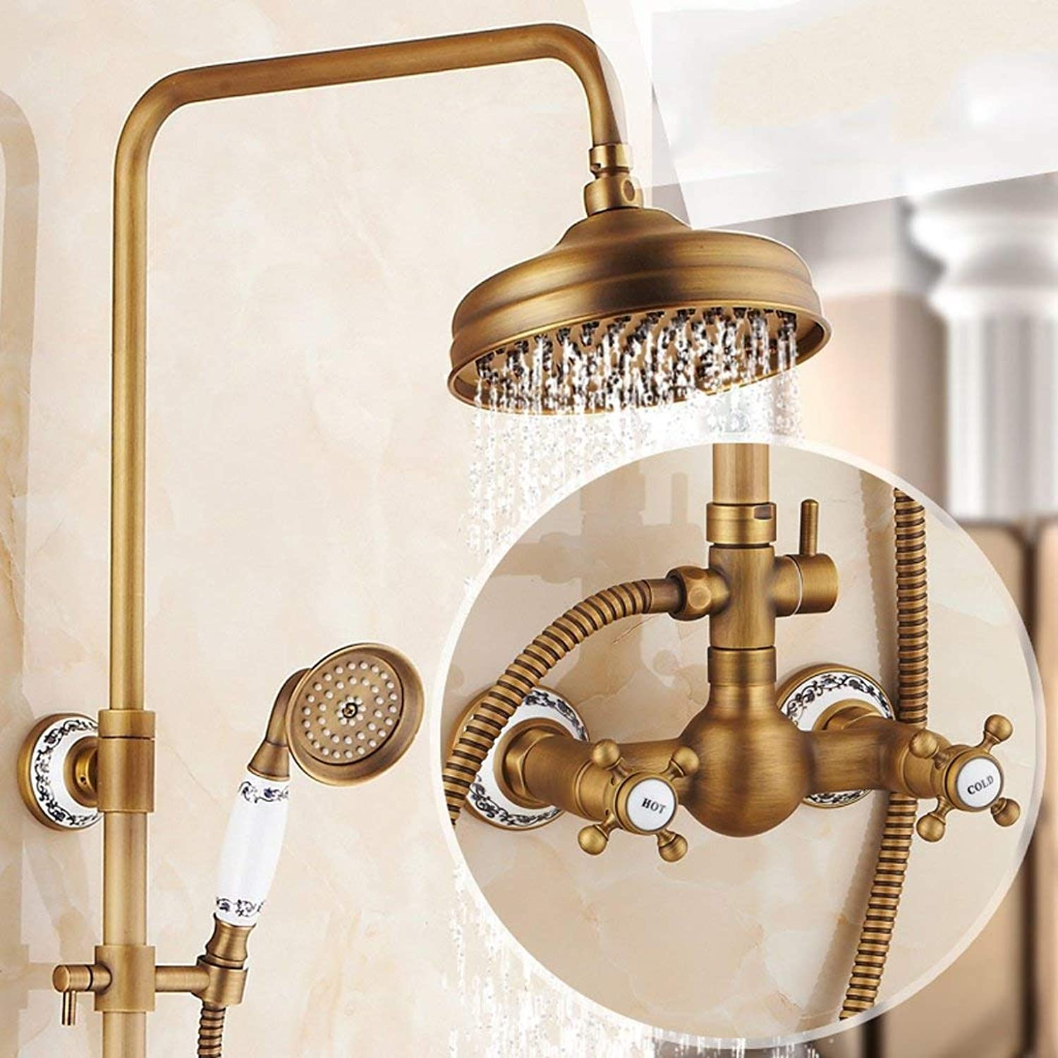 Shower set European-style Retro Copper Shower Shower Hot And Cold Faucet Wall-mounted, Can Be Lifted With redation (color    7)