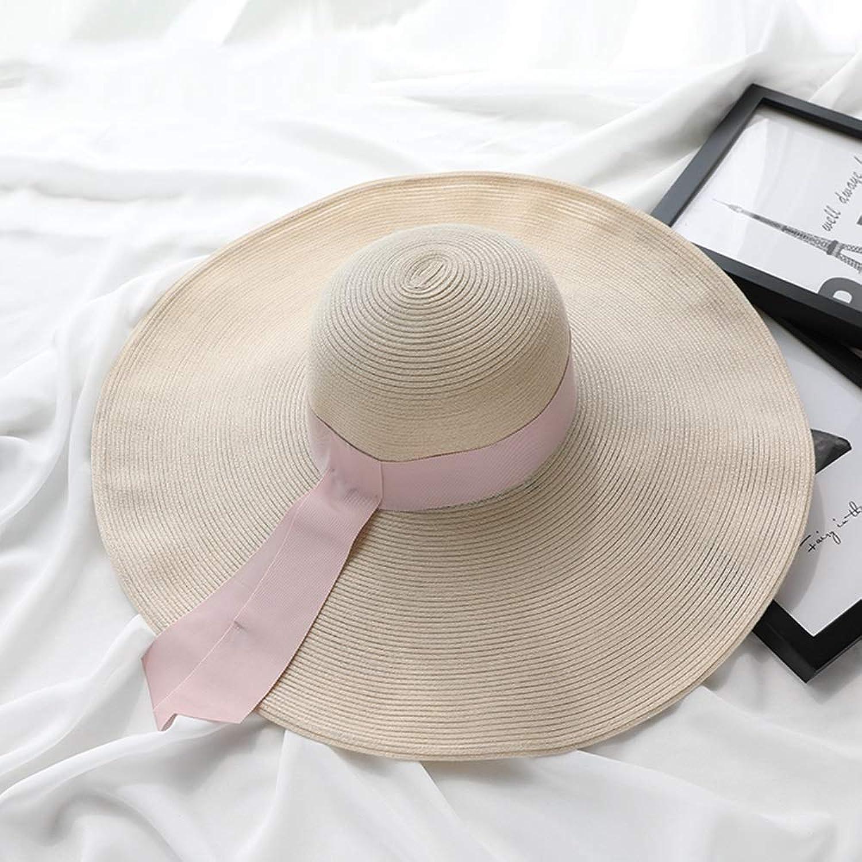 Kylinmmz Womens Beach Sun Straw Hat UV Travel Foldable Brim Summer UV Hat (color   B)