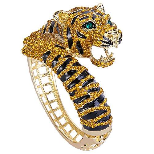 EVER FAITH Braccialetto Donna, Cristallo Austriaco Smalto Festa Tigre Ruggente Animale Braccialetto Marrone Oro-Fondo