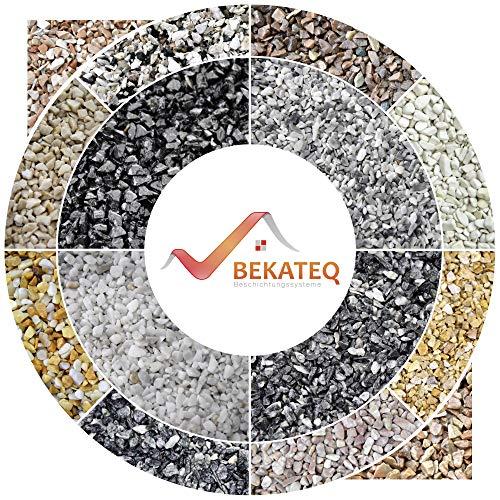 BEKATEQ BK-600EP Bodenbeschichtung mit 1,5kg Bindemittel aus Epoxidharz I Steinteppich Bodenbelag | Flüssigkunststoff Bindemittel & Kleber I Für Innen und Aussen I 25kg Marmorkies I Grigio Bardiglio