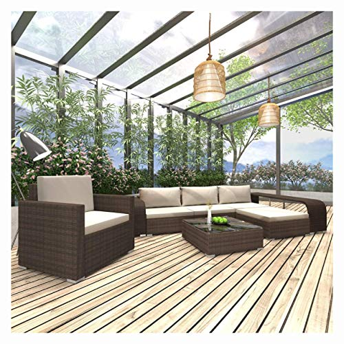 K&A Company Outdoor Furniture Set, 8 Piece Garden Lounge Set with Cushions Poly Rattan Brown
