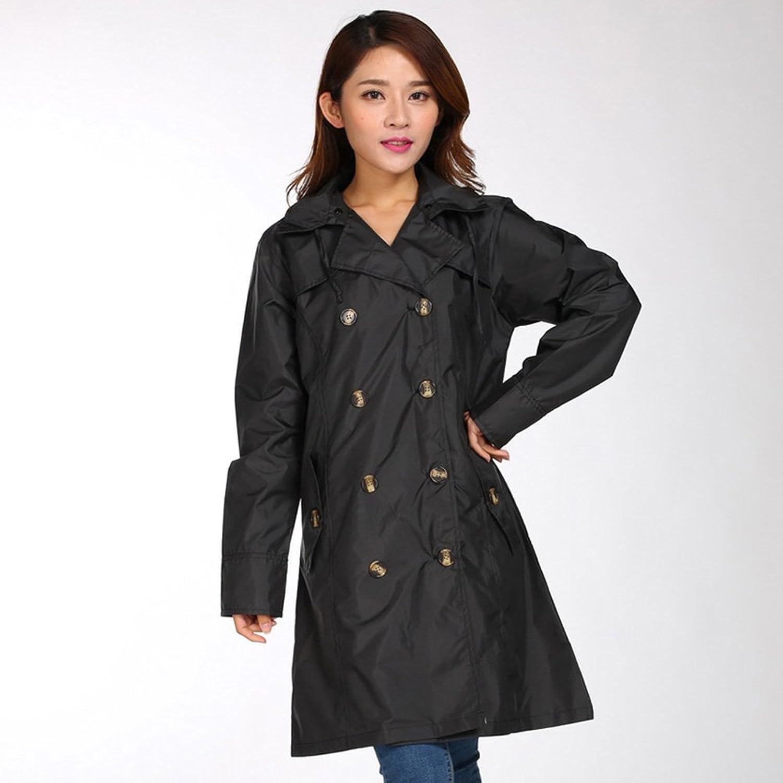 ZEMIN Rain Jacket Coat Raincoat Poncho Windbreaker Waterproof Personality Female Belt Breathable Polyester, M, 4 colors Available Waterproof (color   C, Size   M)