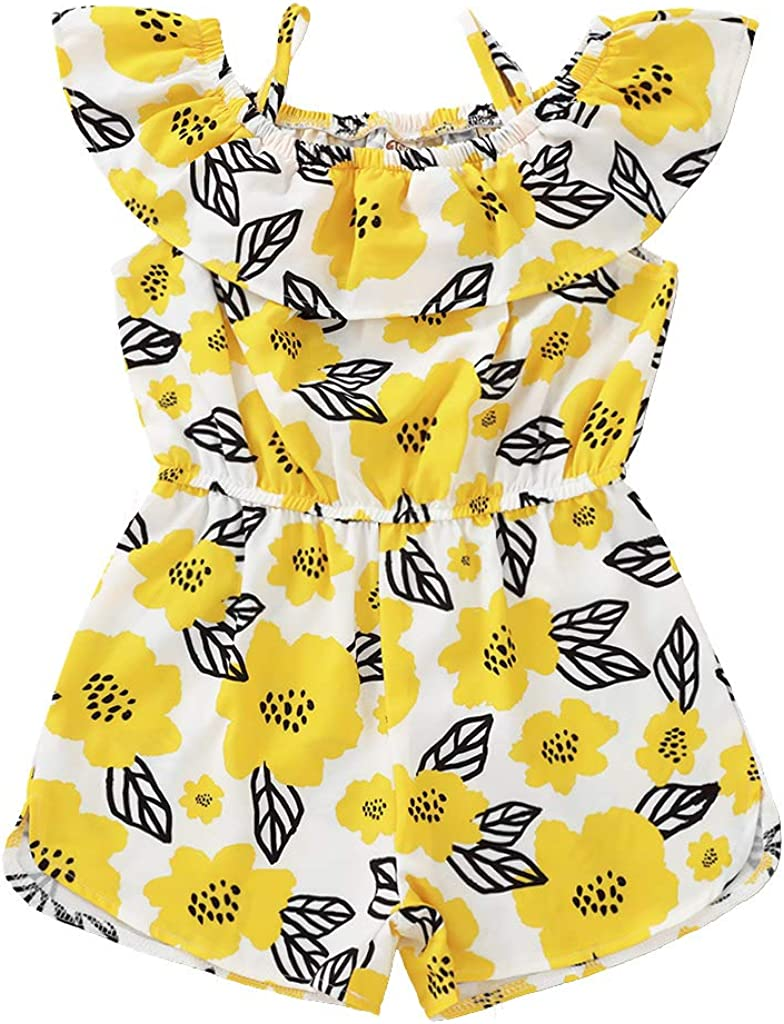 LYSMuch Ultra-Cheap Deals Toddler Baby Girl free shipping Sunflower Outfit R Shoulder Off Ruffle