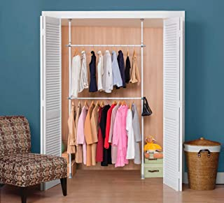 ALLZONE Adjustable Closet Rod Double Rail,Freestanding Clothing Garment Rack Organizer System, NEVERRUST,No Drilling, No Tools, Adjustable Height Width, 94-117Inch Height
