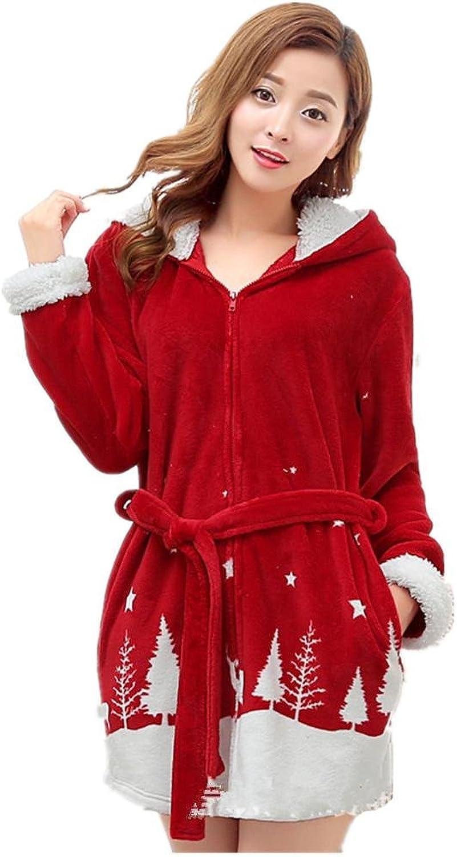 DMMSS Ladies Winter Robes Coral Velvet Padded Hooded Bathrobes Flannel Pajamas Cartoon
