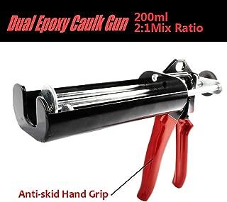 Manual Epoxy Applicator Gun 200 mL/6.75 fl oz (2:1 Mix Ratio) Dual Component Adhesive Cartridge Applicator Double Caulk Gun 2 Part Caulking Gun for 08115 08116 -Scarlet & Black …