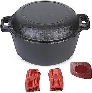Pinnacle Cookware - 4.73 litros / 5 cuartos de galón de hierro fundido pre-sazonado doble horno / cacerola