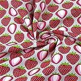 0,5m Stoff Erdbeeren grau Meterware