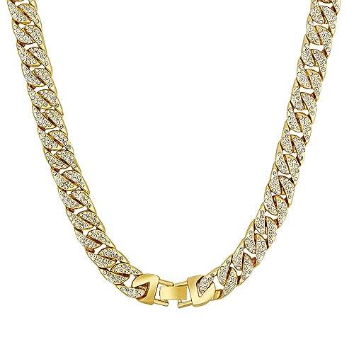 Fanqisi Cuban Link Bracelet for Men Women Hip Hop Bracelet Stainless Steel  Bracelet Iced Out with 0f42ca46de