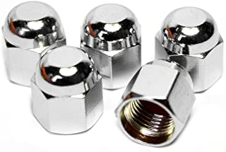 PRESKIN Ventilkappen, 5 x HEXADOME Auto Ventilkappe aus Messing + Chrom, Ventildeckel, für Reifenventile