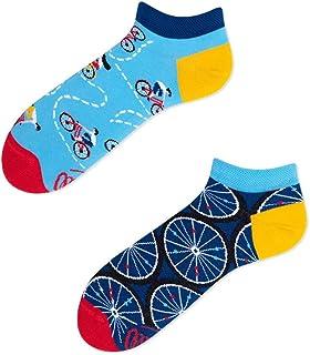 Many Mornings, The Bicycles Low Calcetines cortos divertidos con tema de bicicleta, ruedas, ciclistas, viento, libertad