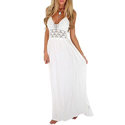 ca46b792af LILBETTER Women s Beach Crochet Backless Bohemian Halter Maxi Long Dress