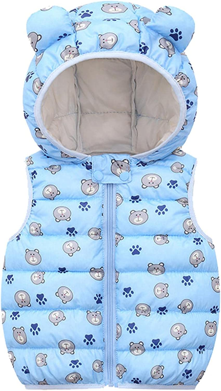 Toddler Superlatite Baby Hooded Coat Bear Direct store Solid Sleeveless Windproof Dow Ear