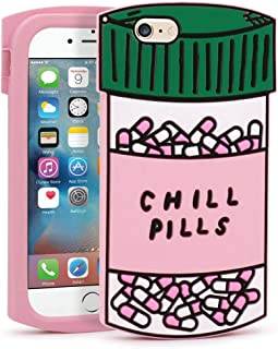 Yonocosta iPhone 6 Case, iPhone 6S Case, Funny Cute 3D Cartoon Chill Pills Capsule Bottle Shaped Soft Silicone Shockproof Back Cover for iPhone 6 / 6S (4.7