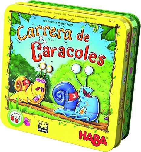 HABA-Juego Mesa, ¡Carrera Caracoles, Multicolor Habermass