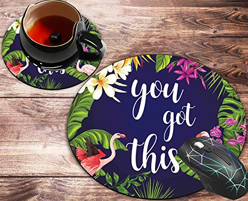 Round Mouse Pad and Coasters Set, Floral You Got This Neoprene Inspirational Quote Mousepad, Anti Slip Rubber Round Mousepads Desktop Notebook Mouse Mat for Working and Gaming