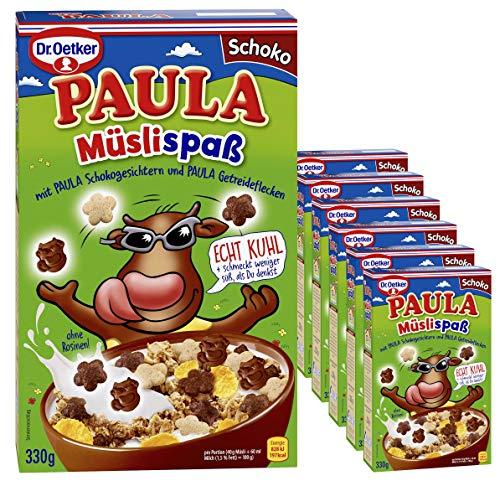 Dr. Oetker Paula Müslispaß Schoko,7er Packung (7 x 330g) - mit knackigen Getreideflecken und leckeren Schokogesichtern