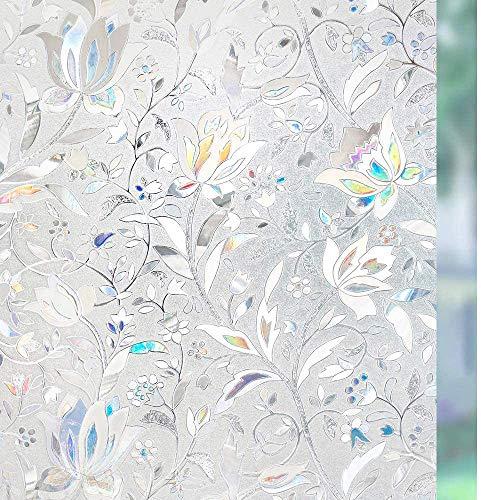 rabbitgoo Fensterfolie Selbsthaftend Blickdicht Sichtschutzfolie Fenster 3D Fensterfolie Glasfolie Dekofolie Statisch Haftend ohne Klebstoff UV Schutz Blumen Tulpe 44.5x300cm für Bad Büro Wohnzimmer