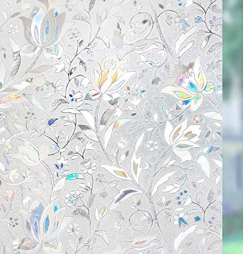 rabbitgoo Pellicola Privacy per Finestre e Vetri 3D Fiori Decorative Autoadesive Controllo di Calore con Effetto Arcobaleno Anti-UV per Casa Bagno Cucina Ufficio 44.5 x 200 cm