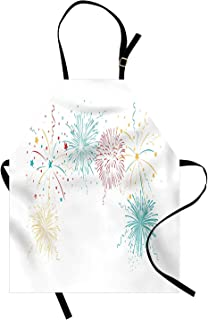T&H Home Fireworks Apron, Bursting Colorful Fireworks and Stars on White Carnival Christmas Joyous Event, Unisex Kitchen Bib Apron Adjustable for Kids Adults Cooking Baking Gardening, Multicolor