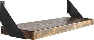 Par de soportes de estante de hierro en ángulo plano curvado, negro, estantes industriales flotantes