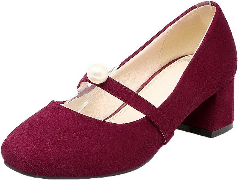 WeenFashion Women's Microfiber Square-Toe Kitten-Heels Pumps-shoes, AMGDW005288