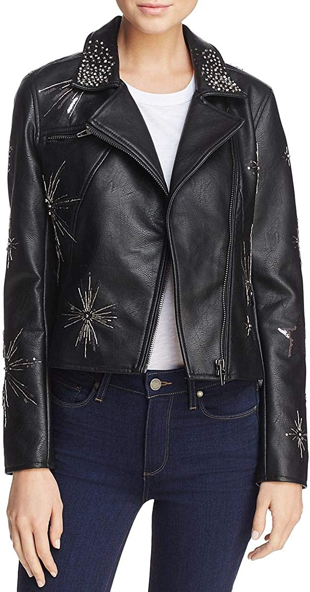 Blank NYC Womens Fall Faux Leather Motorcycle Jacket